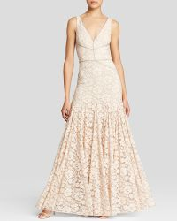Vera Wang Gown - V-Neck Lace pink - Lyst