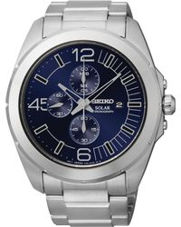 Seiko Men'S Chronograph Millennial Solar Stainless Steel Bracelet Watch 45Mm Ssc201 - Lyst