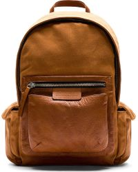 Marc By Marc Jacobs Brown Leather and Twill 2pock and Biggie Backpack - Lyst