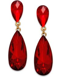 Style & Co. - Style&co. Gold-tone Red Stone Teardrop Earrings - Lyst