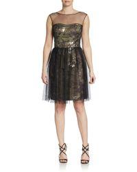 Vera Wang Sheer-yoke Metallic Sequined Brocade Dress - Lyst