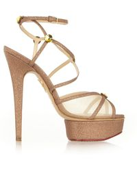 Charlotte Olympia Isadora Metallic Canvas and Mesh Sandals - Lyst