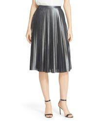 Ted Baker | 'zainea' Metallic Pleated Midi Skirt | Lyst