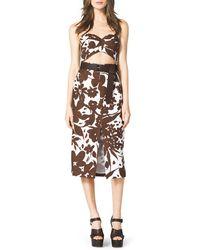 Michael Kors Strapless Cutout Floral-Print Dress - Lyst