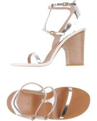 Chloé Silver Sandals - Lyst