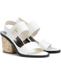 Balenciaga Wooden Heel Leather Sandals - Lyst