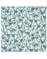 Valentino Spider Monkey Print Cashmere-Silk Scarf blue - Lyst