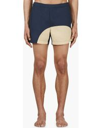 Acne Studios - Navy and Beige Colorblocked Swim Shorts - Lyst