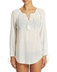 Nanette Lepore Embellished Peasant Tunic Cover Up - Lyst