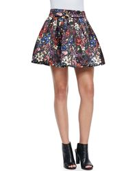 Alice + Olivia Alice  Olivia Fizer Pleated Floral-print Skirt English Floral Al 10 - Lyst