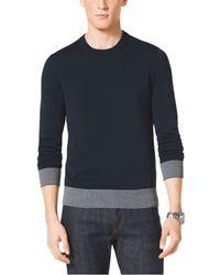 Michael Kors Striped-Trim Cotton Crewneck Sweater - Lyst