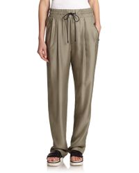 Rag & Bone Harvey Pleated Silk Track Pants gray - Lyst