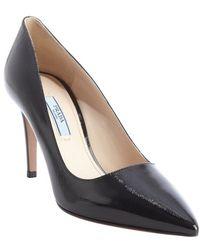 Prada Black Safiano Leather Pointed Toe Pumps - Lyst