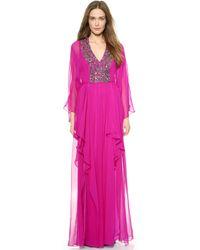 Notte By Marchesa Long Sleeve Caftan Gown - Fuchsia - Lyst