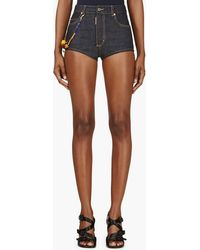 DSquared2 Blue Beaded High_waisted Pin Up Shorts - Lyst