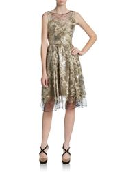 Vera Wang Metallic Sequin-Brocade Lace Dress - Lyst