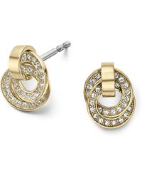 Michael Kors Crystallized Goldtone Interlocking Rings Earrings - Lyst