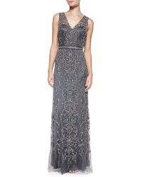 Catherine Deane Sleeveless Beaded Plungeback Gown - Lyst