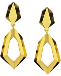 Vince Camuto Goldtone Tortoise Shell Geometric Drop Hoop Earrings - Lyst