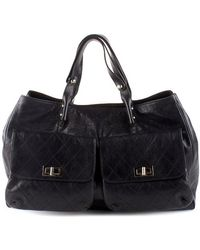 Chanel Pre-Owned Black Caviar Double Front Pocket Tote - Lyst
