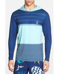 Volcom 'Sub Stripe' Long Sleeve Hooded Rashguard blue - Lyst