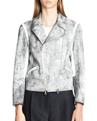 3.1 Phillip Lim Contrast Cropped Motorcycle Jacket - Lyst