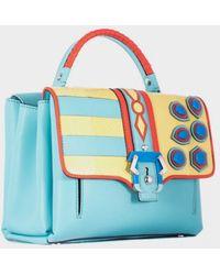 "Paula Cademartori Sky Blue ""Petite Faye"" Bag With Reptile Insert blue - Lyst"
