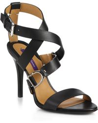 Ralph Lauren Collection Blair Horsebit Leather Sandals - Lyst