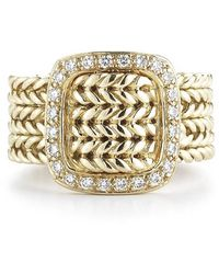 Hermes Pre-owned 18ky Braided Ring with Diamond Buckle - Lyst