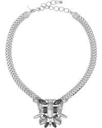 Kenneth Jay Lane Rhodium-plated Crystal Necklace - Lyst