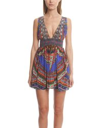 Camilla | V-neck Tie Mini Dress | Lyst