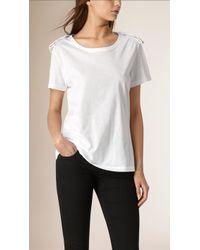 Burberry | Regimental Goldwork Detail Cotton T-shirt | Lyst