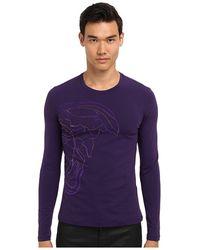 Versace Medusa Logo Flock Ls Stretch Cotton Tee - Lyst