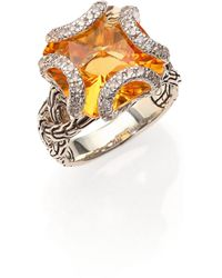 John Hardy Classic Chain Citrine Diamond  Sterling Silver Medium Braided Ring - Lyst