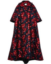 Delpozo Embroidered Floral Print Cape Coat - Lyst