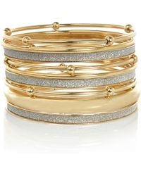 River Island Gold Tone Glitter Bangle Pack - Lyst
