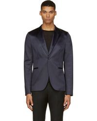 Paul Smith Dark Navy Satin Blazer - Lyst