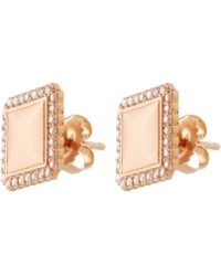 Jamie Wolf - Small Rose Gold And White Diamond Stud Earrings - Lyst