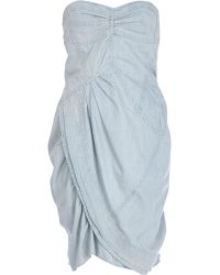 River Island Denim Hitch Hem Bandeau Dress - Lyst