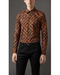 Burberry Slim Fit Cotton Abstract Check Shirt - Lyst