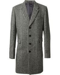Paul Smith Patterned Herringbone Coat - Lyst