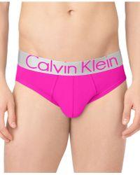 Calvin Klein Mens Steel Microfiber Hip Briefs - Lyst