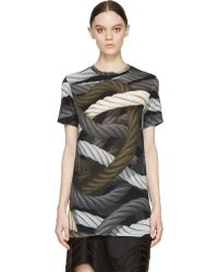 Christopher Kane Green And Grey Hyper Ropes T_Shirt - Lyst