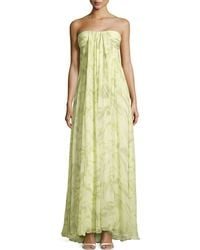 Halston Heritage Strapless Printed Draped Silk Gown - Lyst