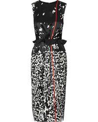 Preen Swoosh Printed Silk Dress - Lyst