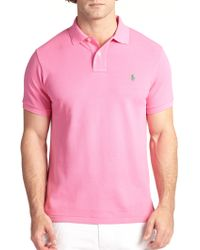 Polo Ralph Lauren Slim-Fit Cotton Mesh Polo pink - Lyst