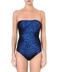 Gottex Bangalore Bandeau Swimsuit Blackblue - Lyst