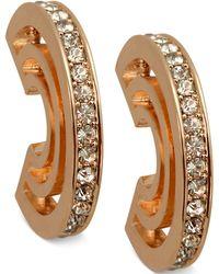 T Tahari - Gold-tone Crystal Three-row Hoop Earrings - Lyst