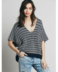 Free People Womens Stripe Boxy Short Sleeve Pullover - Lyst