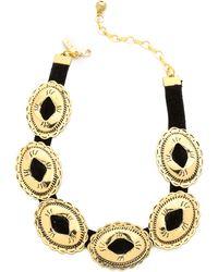 Vanessa Mooney Charlotte Mae Choker Necklace - Gold/Black - Lyst